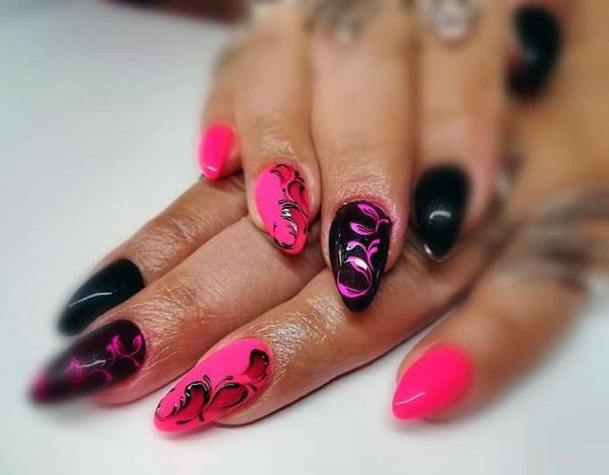 Hot Pink And Black Curvy Art On Nails For Women