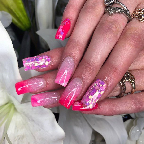 Hot Pink Iridescent Nails Women