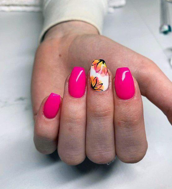 Hot Pink Tropical Nails Women