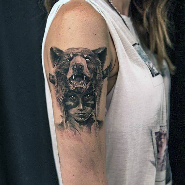 Howling Bear And Lady Tattoo Womens Arms