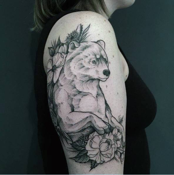 Huge Bear And Flowers Tattoo For Women