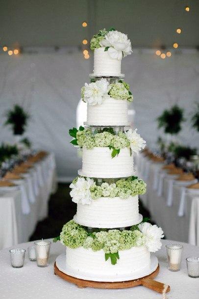 Huge Cake With Hydrangea Wedding Flowers