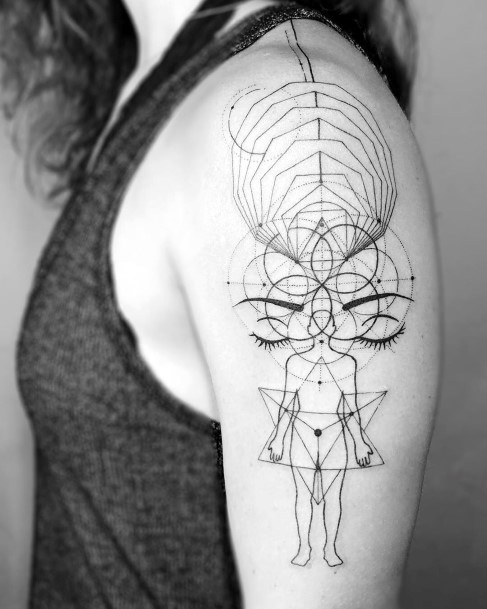 Human Anatomy And Geomteric Tattoo Womens Upper Arms