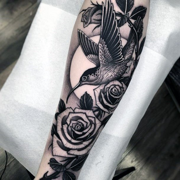 Hummingbird And Roses On Full Moon Night Tattoo For Women