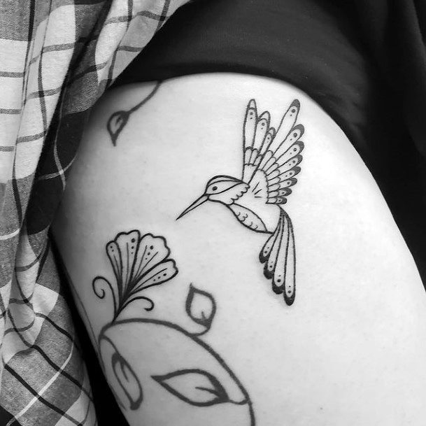 Hummingbird In Flight And Flower Tattoo Womens Arms