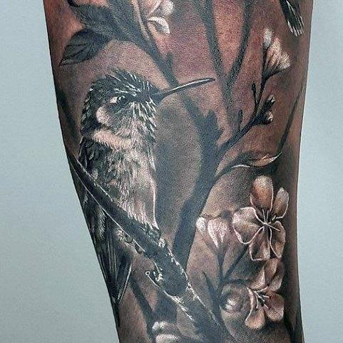 Hummingbird In Forest Tattoo Womens Legs