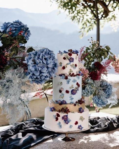 Hydrangea Wedding Flowers On Cake