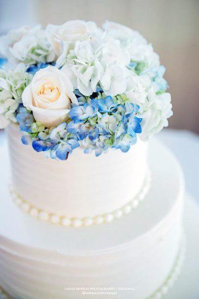 Hydrangea Wedding Flowers On Smooth White Cake
