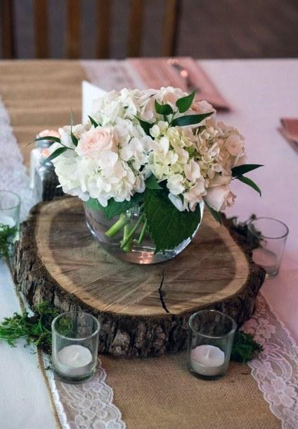 Hydrangea Wedding Flowers Vase Wooden Log