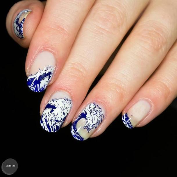 Icy White And Blue Water Nails Women