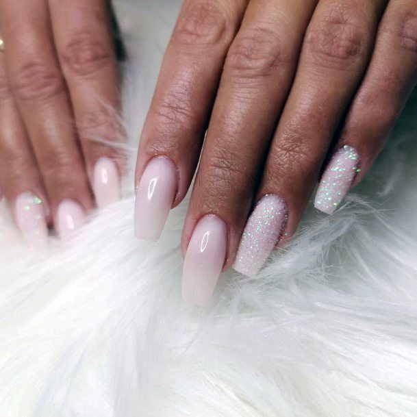 Icy White Snow Nails Long For Women