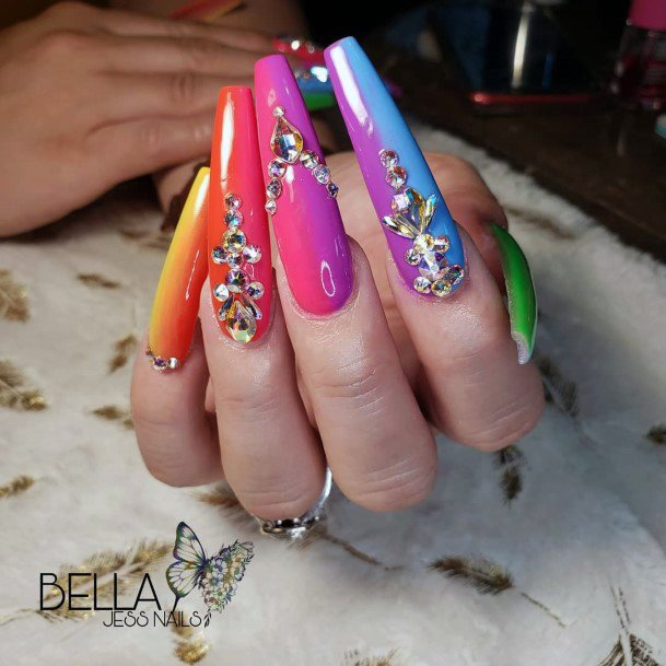 Imaginative Colorful Nail Ideas With Crystals For Women