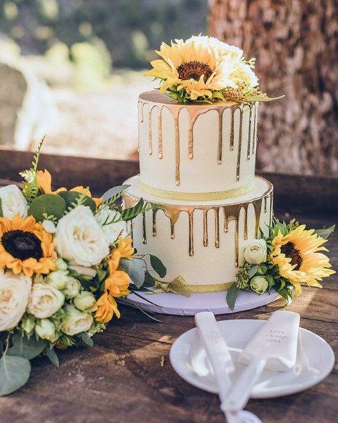 Immense Wedding Cakes Women Sunflowers Dripping Icing