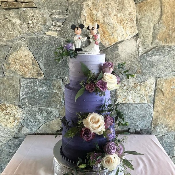 Imperial Purple Wedding Cake With Roses