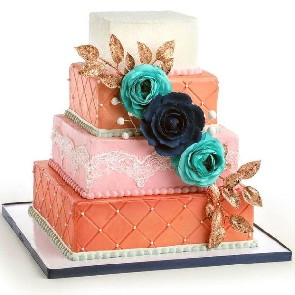 Impressive Square Wedding Cake