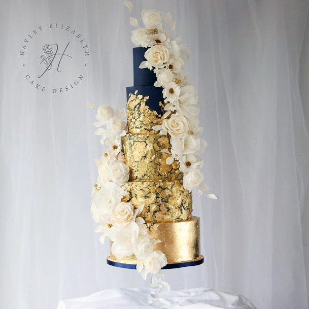 Incredible Royal Blue And Gold Wedding Cake