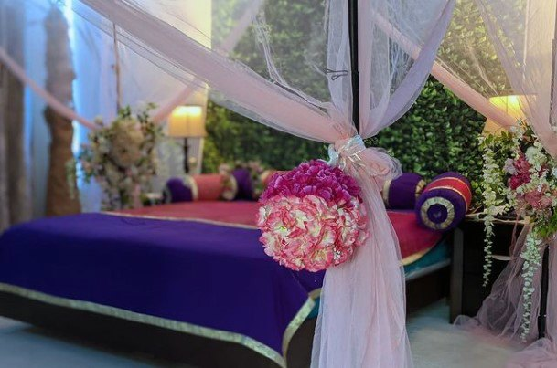 Indian Wedding Flowers Decor On Love Bed