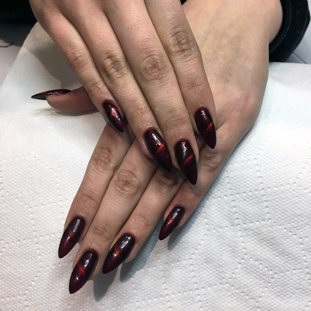 Intense Red Cat Eye Nails