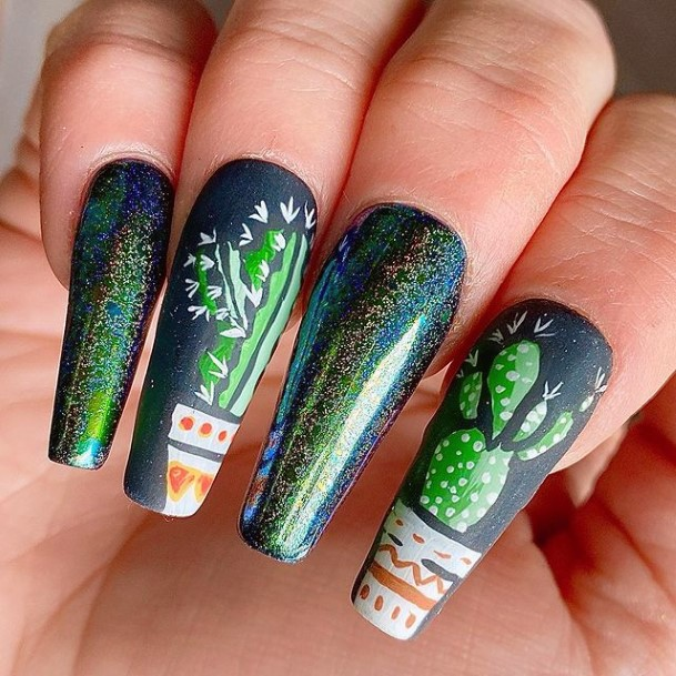 Intricate Cactus Dark Nails Women