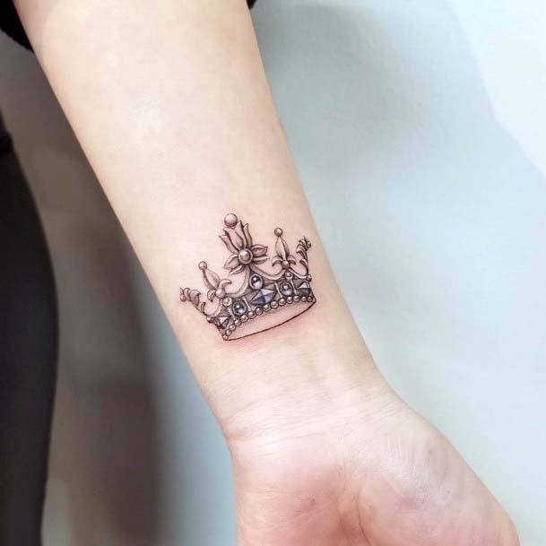 Intricate Crown Tattoo Womens Wrists