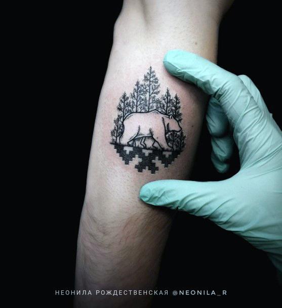 Intricate Design Bear Tattoo For Women