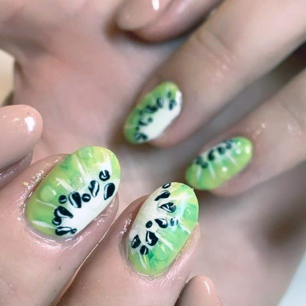 Intricate Seed Kiwi Nails Green Women