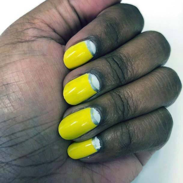 Inverted French Manicure Bright Yellow Nails For Women