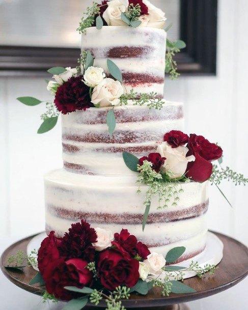 Inviting Red Roses Velvet Wedding Cake