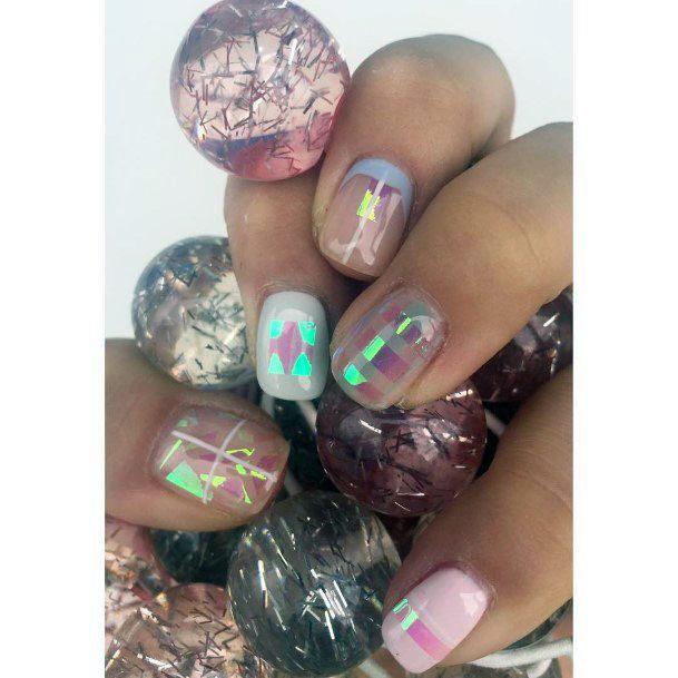 Iridescent Glass Nails For Women
