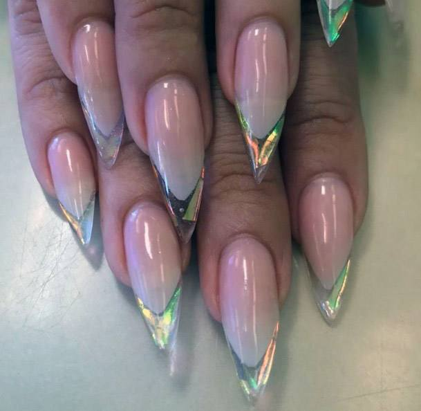 Iridescent Nails At Tips For Women