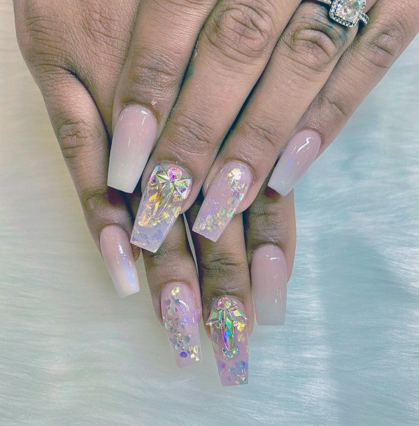 Iridescent Nails With Diamond Sparkles Women