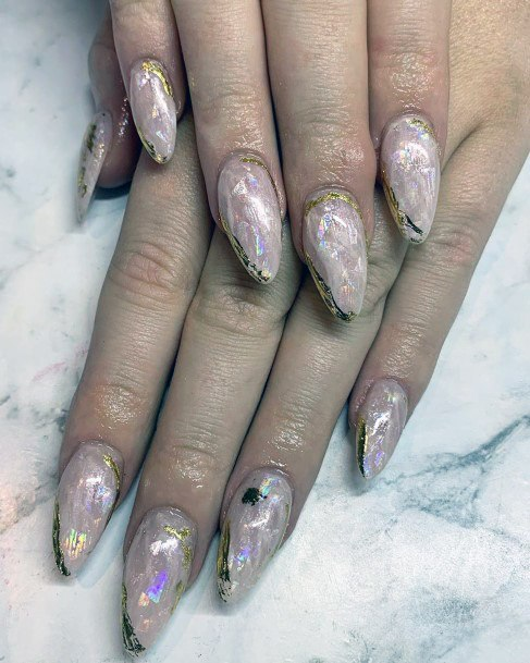 Iridescent Nails With Gold Ribbons Women