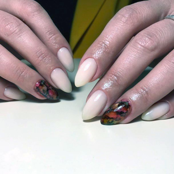 Ivory Almond Nails With Red Accent Shellac Nails For Women