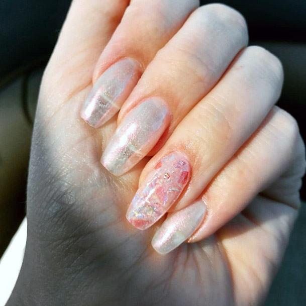 Ivory White Iridescent Nails Women