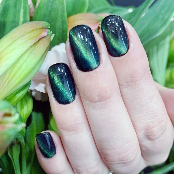 Jade Blue Cat Eye Nails