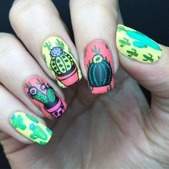 Jazzy Cactus Nails Women