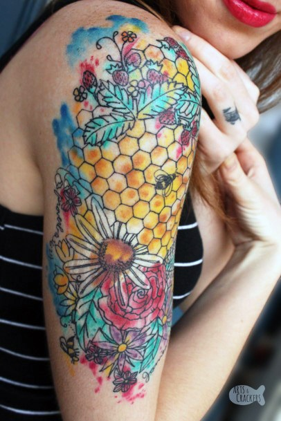 Jazzy Colored Bee Tattoo For Women On Upper Arms