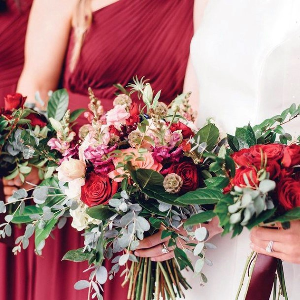 Jazzy Colored Christmas Wedding Flowers