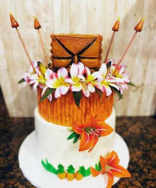 Jazzy Hawaiian Wedding Cake And Flowers