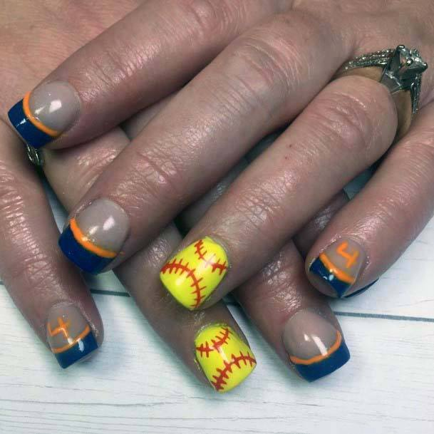 Jazzy Orange Blue Nails For Women