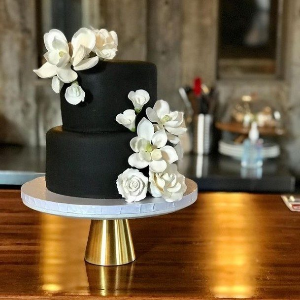 Jet Black 2 Tier Cake With White Flowers Wedding Art