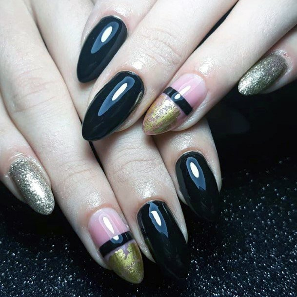 Jet Black And Golden Sparkles Shellac Nails For Women