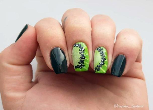 Jet Black And Kiwi Nails Women