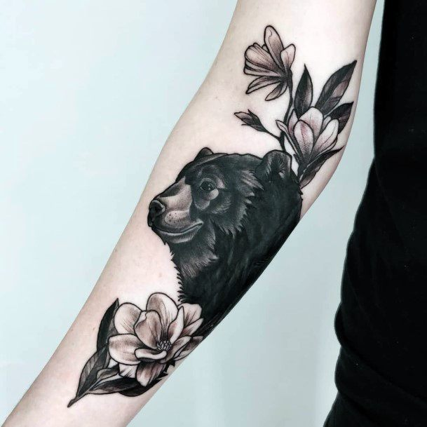 Jet Black Bear And Flowers Tattoo For Women