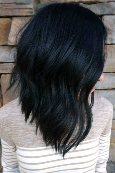 Jet Black Hair On Female With Easy Side Part