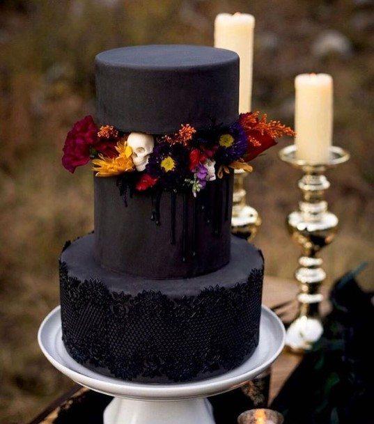 Jet Black Halloween Wedding Cake With Flowers