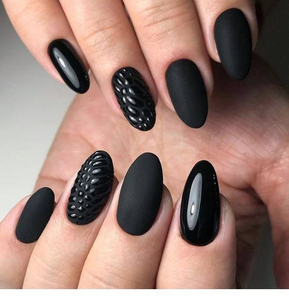 Jet Black Nails With Multiple Effects Women