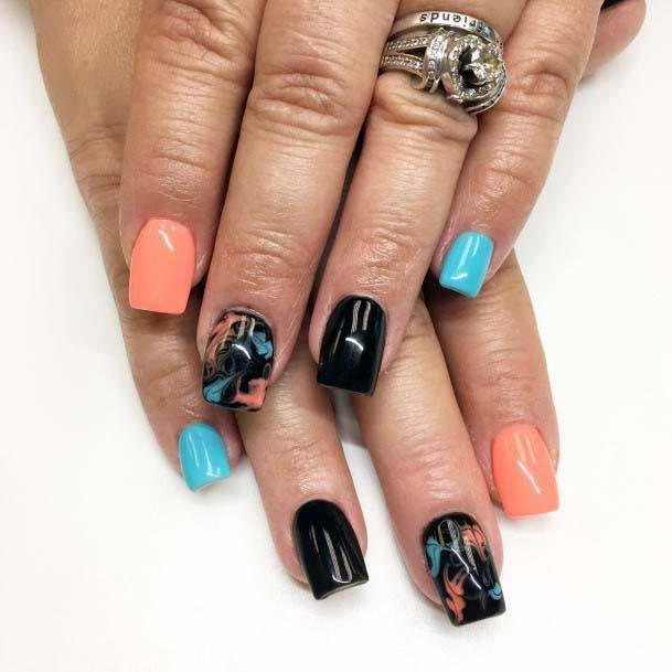 Jet Black Nails With Orange And Blue Art For Women