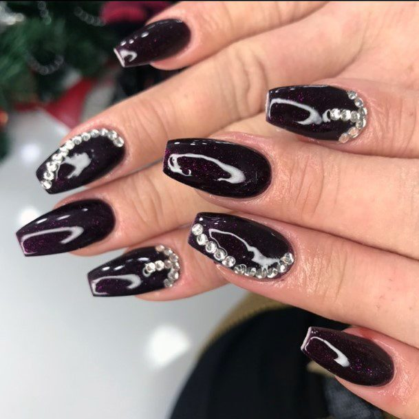 Jet Black Nails With White Crystals Women