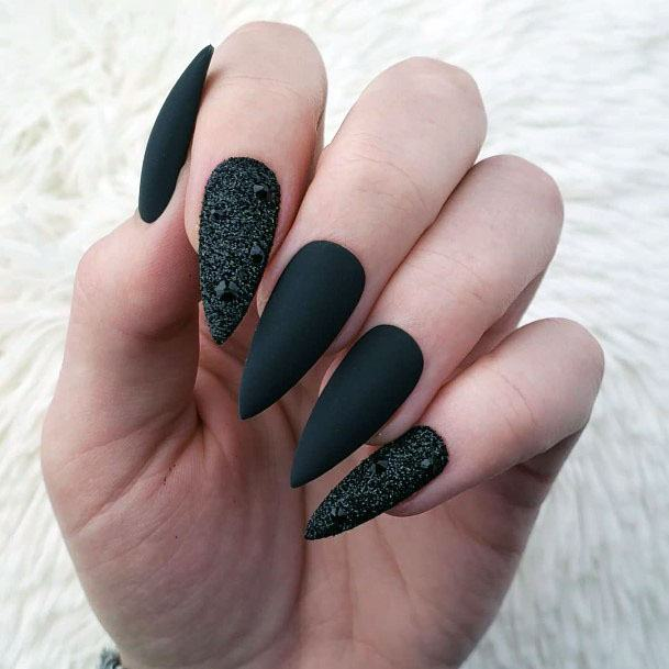 Jet Black Sugar And Matte Nails Women